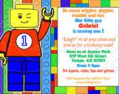 A LEGOrific Kids Birthday Party Invitations