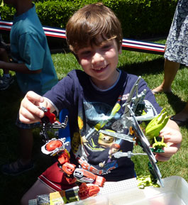 boy with bionicles at party