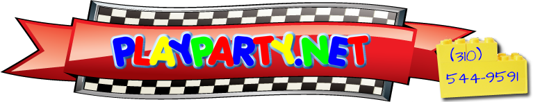 Playparty.net logo on racing flag and phone (310) 544-9591 on lego blocks